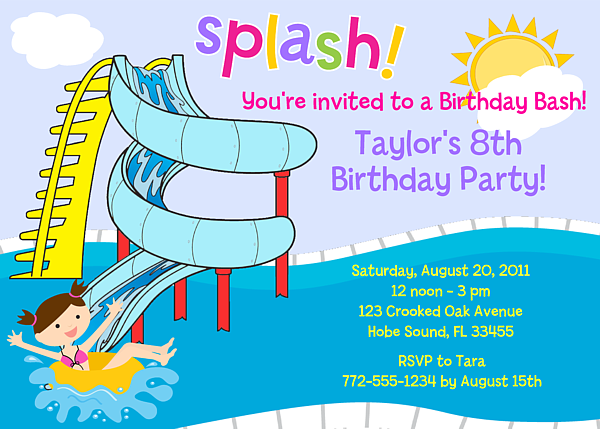 Party Birthday Invitations Waterslide