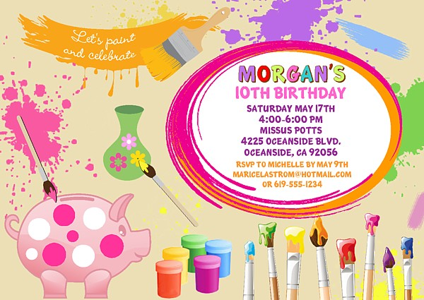 ceramics pottery painting birthday party invitations arts and