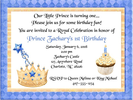 Prince Birthday Party Invitations Prince – Prince 1st Birthday Invitations