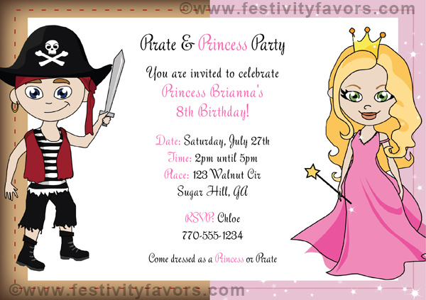 princess and pirate birthday party invitations  princess and, party invitations