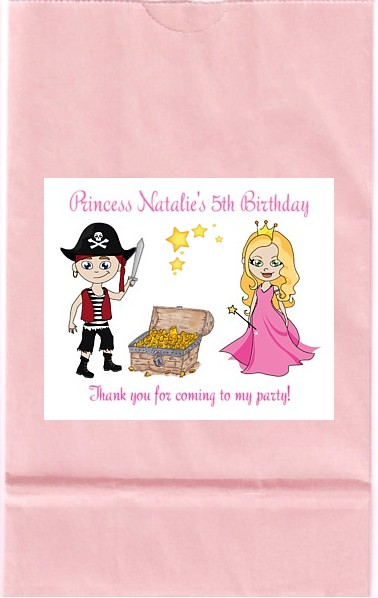 Pirate And Princess Birthday Party Goodie Loot Bag Labels