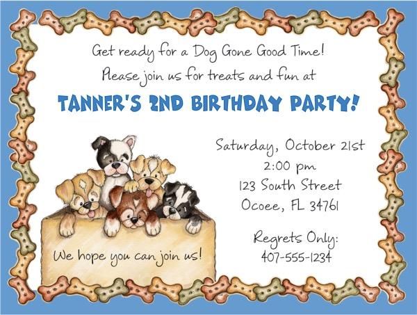 Dog Puppies Birthday Party Invitations Blue Dog Kids Birthday