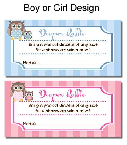 Catalog > Owl Baby Shower Diaper Raffle Tickets