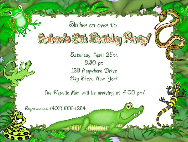 Reptile Alligator Birthday Party Invitations Reptile Kids Birthday