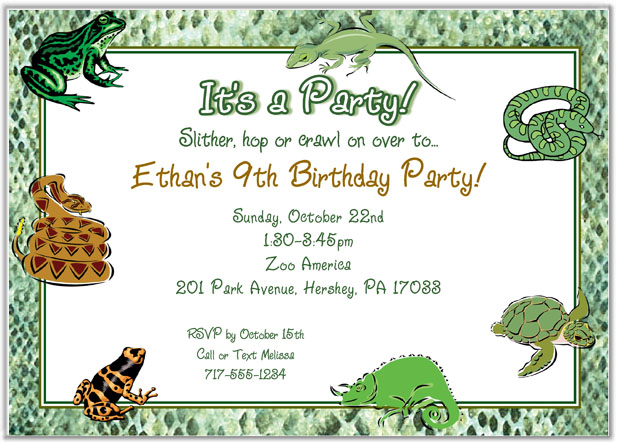 Reptile Frog Lizard Snake Birthday Party Invitations Reptile Kids