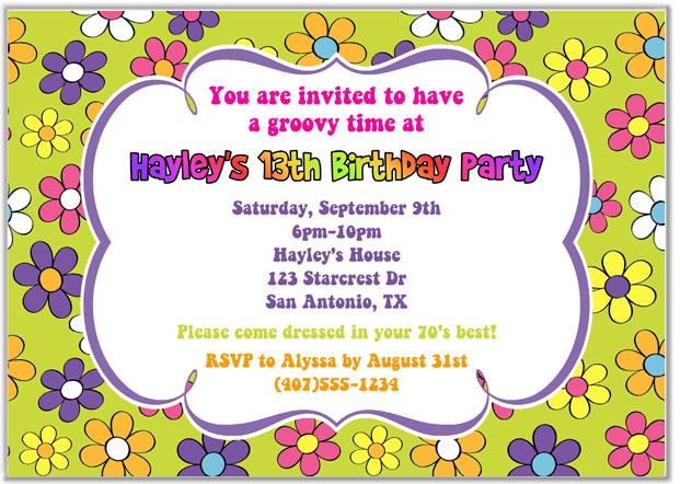 Retro Flower Power 70s Birthday Party Invitations Adult Retro