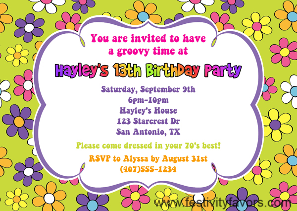 Retro Flower Power 70s Birthday Party Invitations Adult – 70s Party Invitations