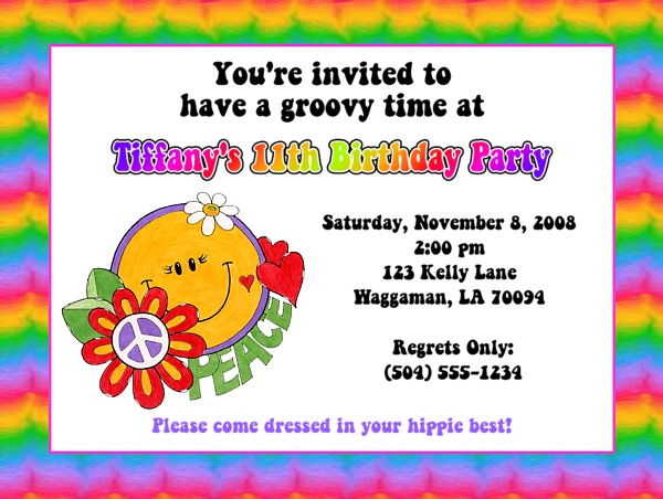 Groovy Retro Hippie Flower Power 60s 70s Party Invitations – Flower Party Invitations