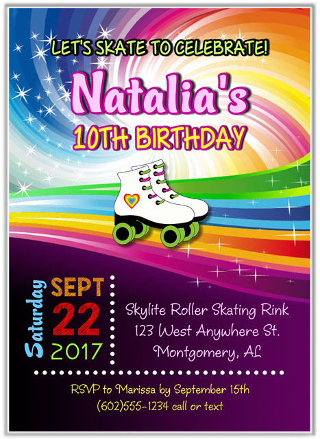 Roller Skating Party Invitations Roller Skating Sports Kids Birthday