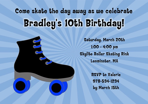 roller skating birthday party invitations boy roller skating