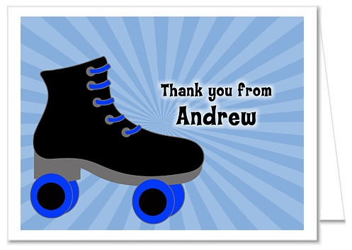 Roller Skating Birthday Party Thank You Note Cards