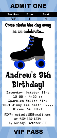 Roller skating birthday party ticket invitations skating boy birthday party ticket invitations sold filmwisefo