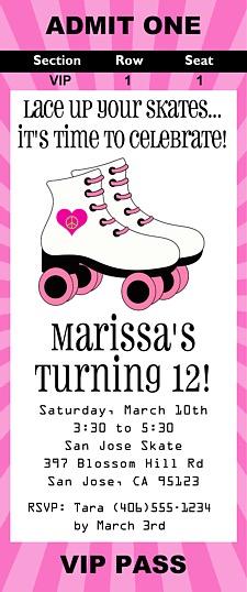 Roller Skating Birthday Party Ticket Invitations   Roller ...