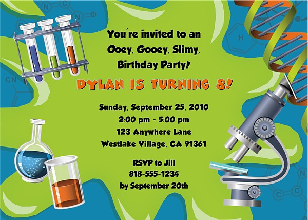 Science Birthday Party Invitations Science Kids Birthday