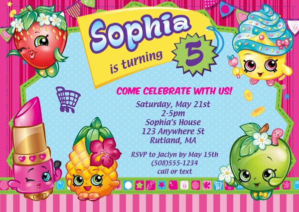 Shopkins Birthday Party Invitations Kids Birthday