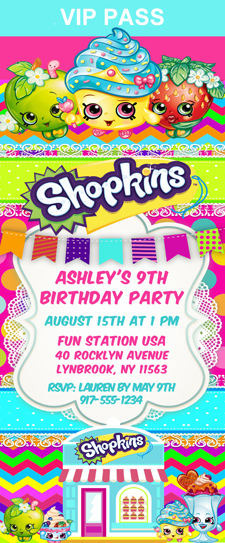 shopkins birthday party ticket invitations shopping kids birthday