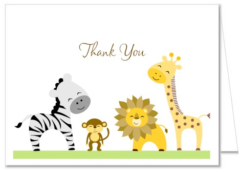Completely new Jungle Animals Baby Shower Thank You Note Cards HD76