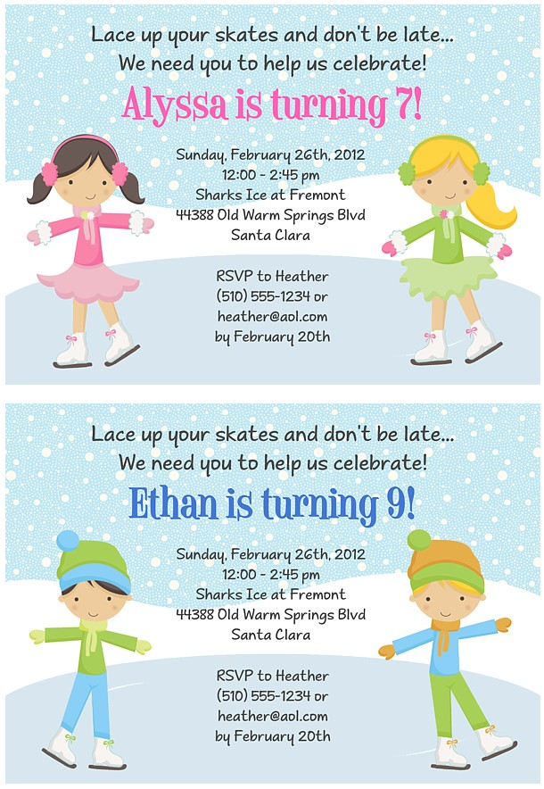 Ice skating birthday party invitations ice skating sports kids ice skating birthday party invitations ice skating sports kids birthday filmwisefo