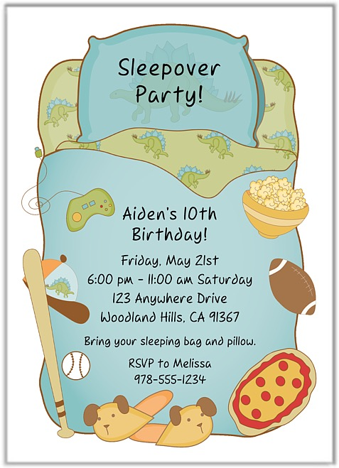 Slumber Party Sleepover Birthday Invitations Boy – Sleepover Birthday Party Invitations