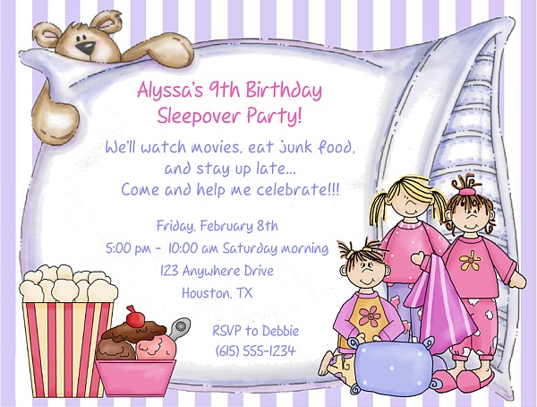 slumber party sleepover birthday invitations girl slumber party