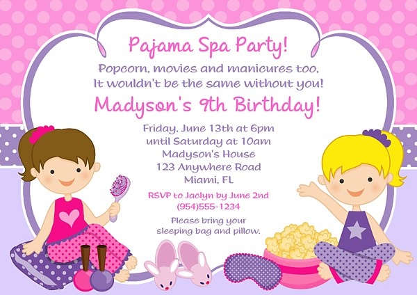 Pajama Spa Birthday Party Invitations