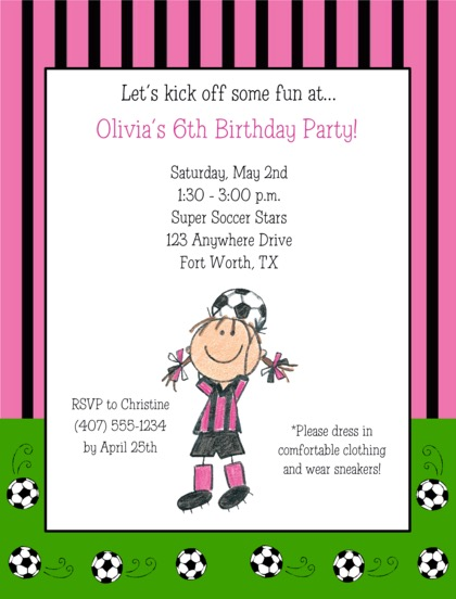 soccer birthday party invitations girl - Girl Birthday Party Invitations