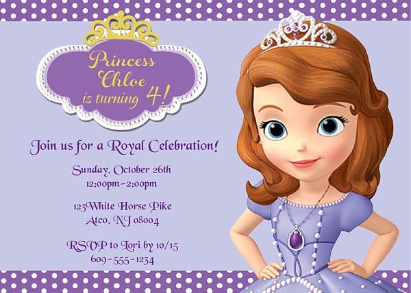 Sofia the First Birthday Party Invitations Disney Kids Birthday
