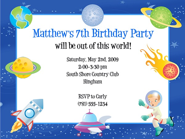 Space Birthday Party Invitations Space – Space Party Invitations