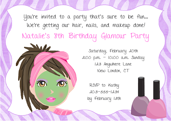 Spa Makeover Birthday Party Invitations | Glamour Makeover ...