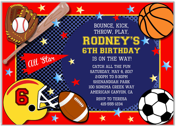 Sports Birthday Party Invitations Sports Kids Birthday
