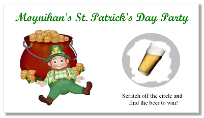 St. Patrick's Day Leprochaun Scratch Off Tickets Personalized