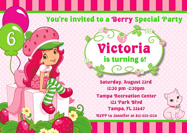 strawberry shortcake birthday party invitations  strawberry, Birthday invitations