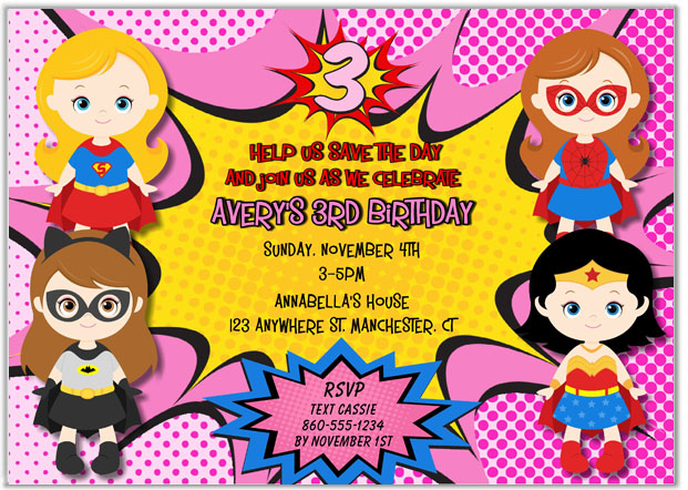 Superhero Girl Birthday Party Invitations – Superheroes Party Invitations