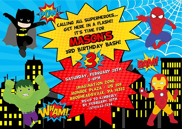 superhero birthday party invitations - Superhero Birthday Party Invitations