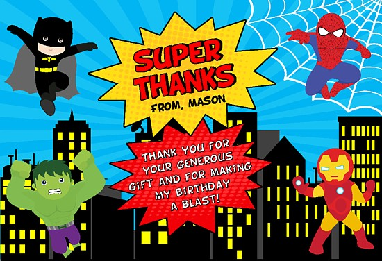 superhero thank you cards personalized