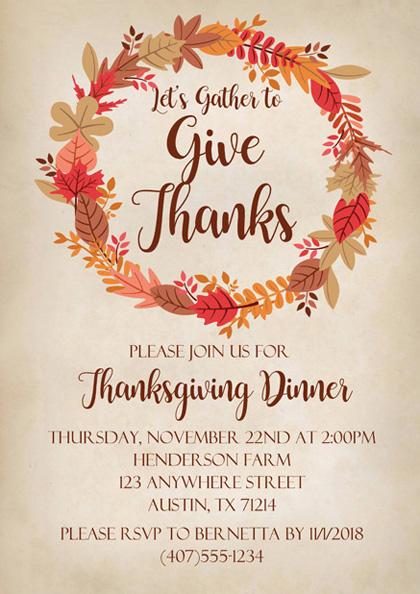 Thanksgiving Dinner Invitation Template Fall Printable Thanks Giving Autumn Let/'s Gather Invite Download Templett