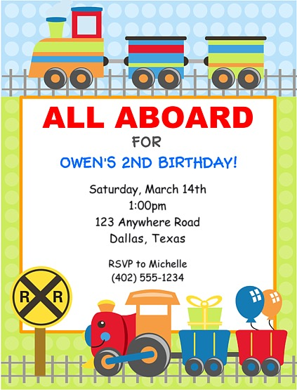 Choo Choo Train Birthday Party Invitations Train Kids Birthday