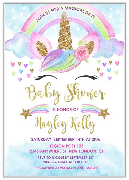 Unicorn Baby Shower Invitations Baby Shower