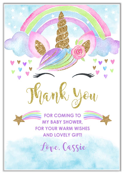 Unicorn Baby Shower Thank You Cards