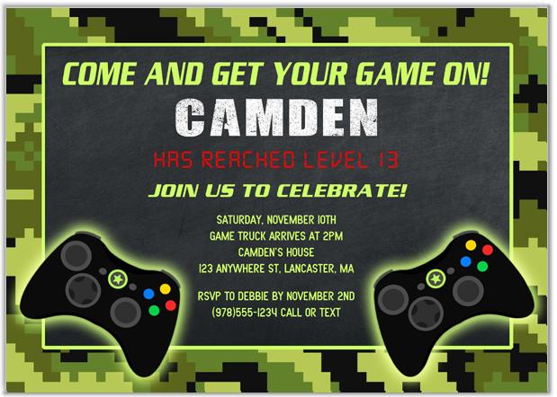 Video Game Birthday Party Invitations Kids Birthday