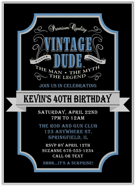 Vintage birthday party invitations for a man vintage stopboris Images