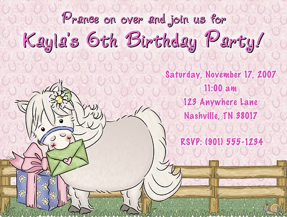White pony horse birthday party invitations horse pony kids birthday filmwisefo