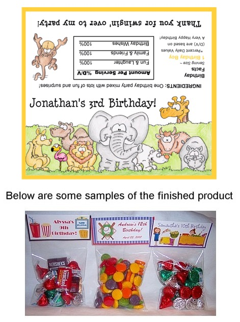 Zoo Animals Birthday Party Loot Bag Toppers Bags