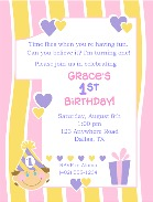 1st Birthday Girl Party Invitations