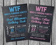 40th Birthday Party Invitations, WTF Who's Turning Forty