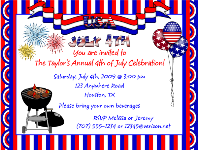 BBQ Barbeque Cookout 4th of July Party Invitations