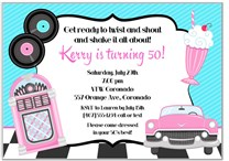 50's Theme Birthday Party Invitations