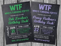 50th Birthday Party Invitations, WTF Who's Turning Fifty