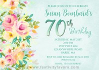 Floral 70th Birthday Party Invitations