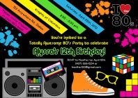 80s Theme Birthday Party Invitations